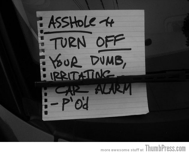 Car Alarm Notes 1 630x512 The Best Of Irritating Car Alarm Rage Notes (14 Pics)