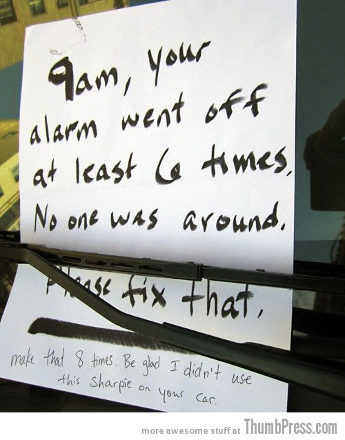 Car Alarm Notes 10 The Best Of Irritating Car Alarm Rage Notes (14 Pics)