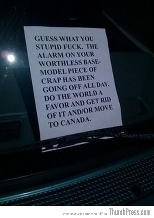 Car Alarm Notes 11 The Best Of Irritating Car Alarm Rage Notes (14 Pics)