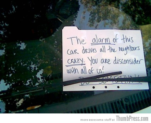 Car Alarm Notes 2 630x514 The Best Of Irritating Car Alarm Rage Notes (14 Pics)