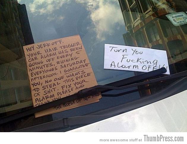 Car Alarm Notes 6 630x487 The Best Of Irritating Car Alarm Rage Notes (14 Pics)