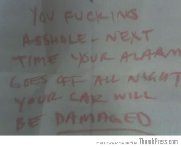 Car Alarm Notes 9 630x512 The Best Of Irritating Car Alarm Rage Notes (14 Pics)