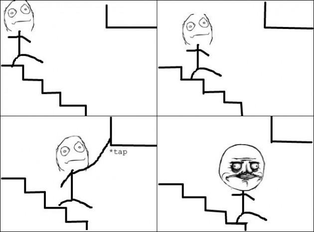 While going down the stairs - ME GUSTAAA