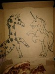 draw a unicorn fighting a giraffe