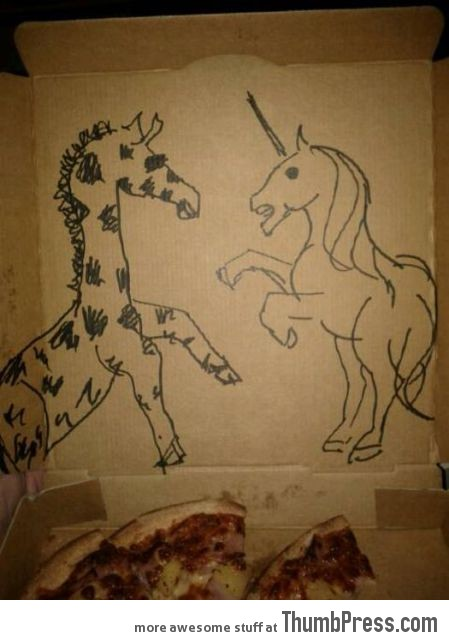 draw a unicorn fighting a giraffe