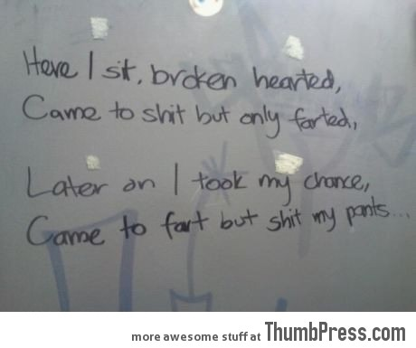 Beautiful poetry in the toilet.