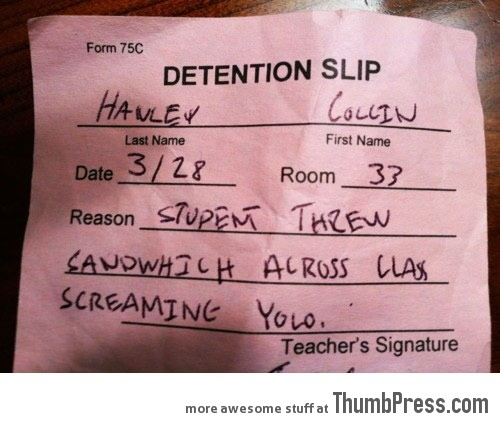 Detention slip