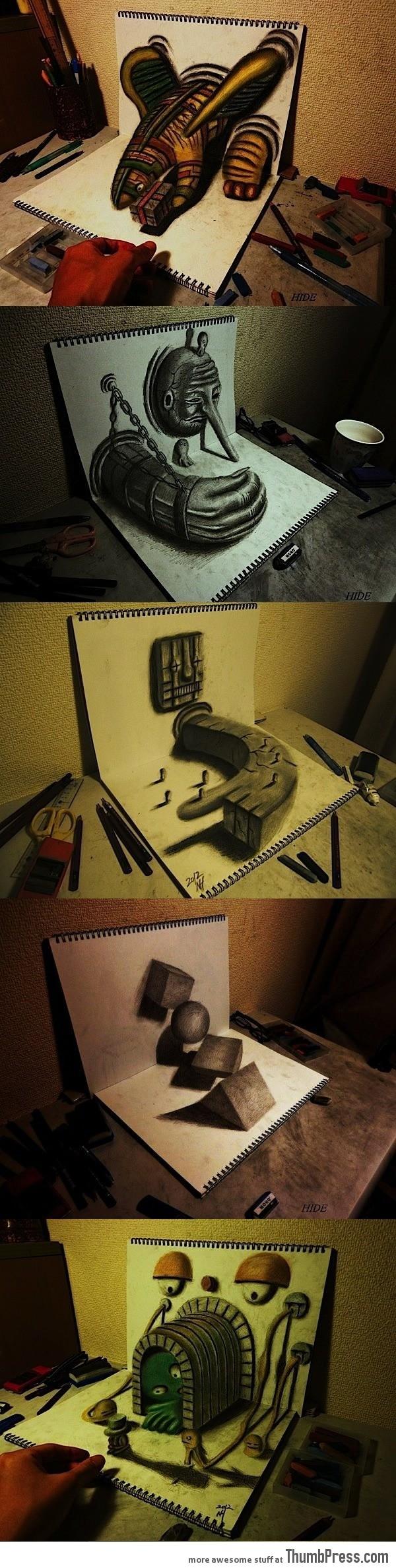 3D drawings on sketchbook