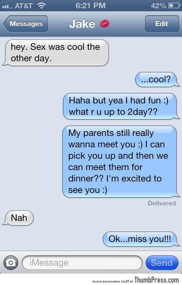 Meeting your parents, Nah.