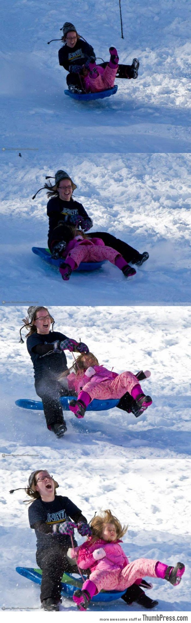 At least one of them was having fun sledding.