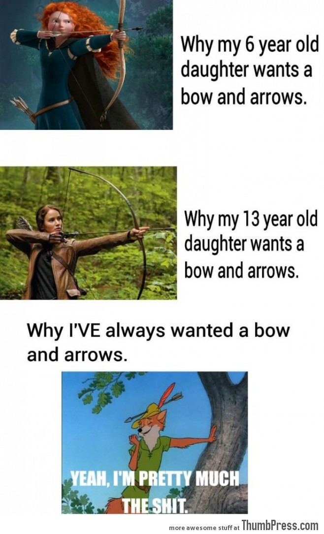 Generations' differnt views towards bow and arrows.