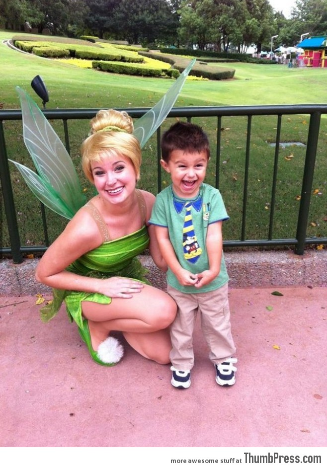 He is so happy to meet Tinker Bell!