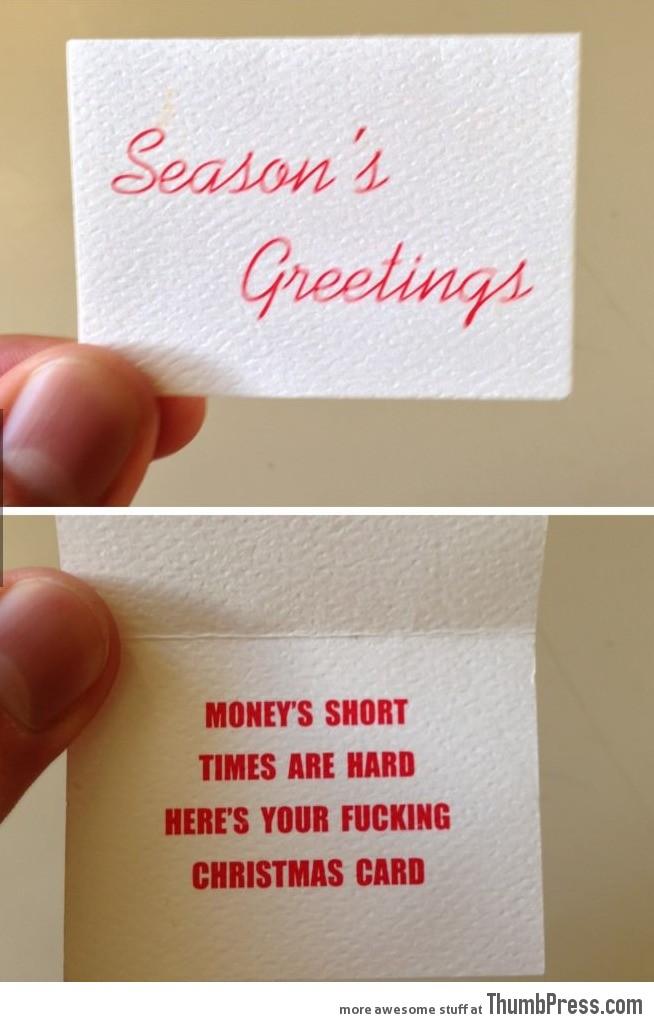So my dad's office got him a Christmas card...