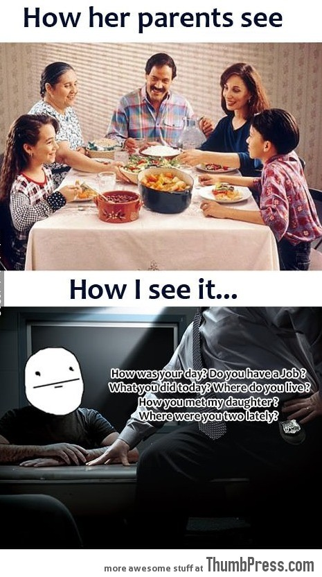 Having dinner with my girlfriend's family