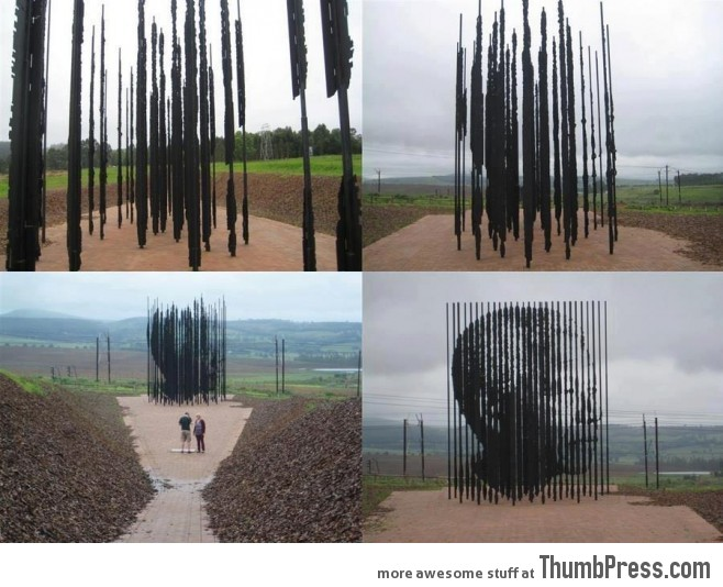 Impressive sculpture of Nelson Mandela, situated at the place where he was arrested in 1962