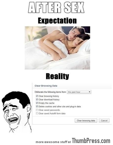 After sex (Expectation vs. reality)