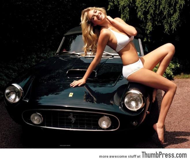 Kate Upton and a vintage Ferrari.