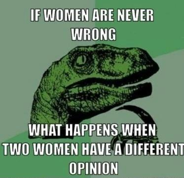 If women are never wrong...