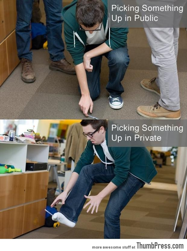 Picking something up from the floor