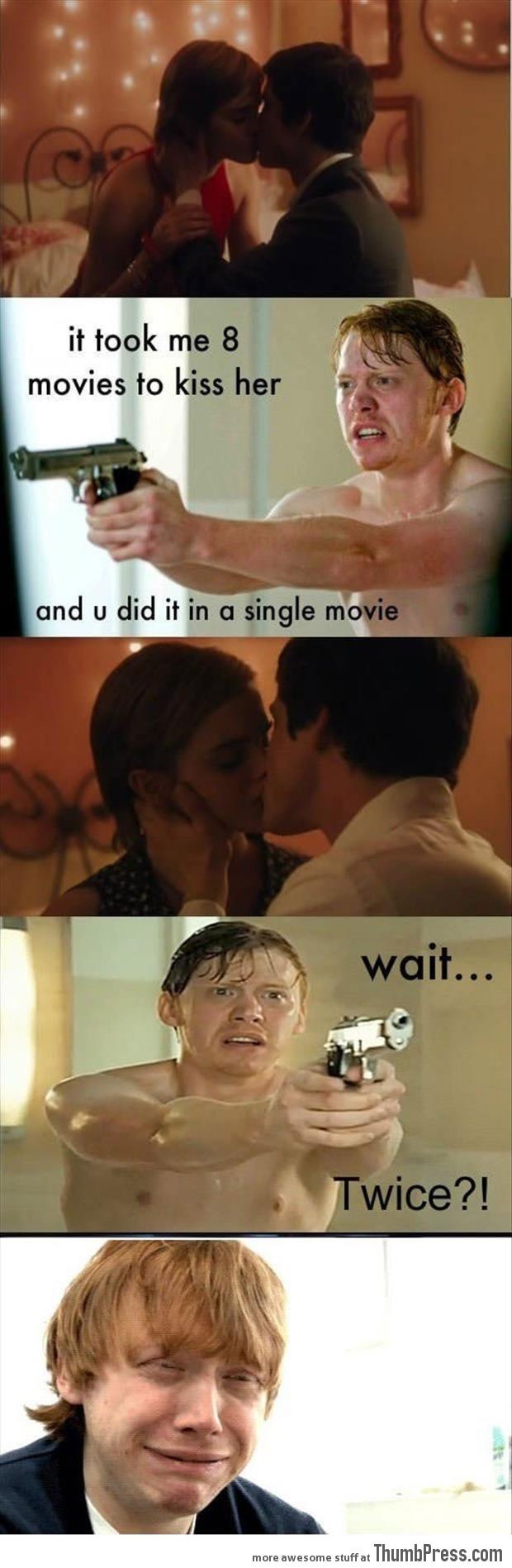 Rupert Grint's reaction on Emma Watson's kiss...