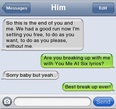 Text message breakup lyrics
