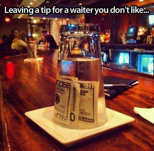 How to leave a top for waiter you don't like