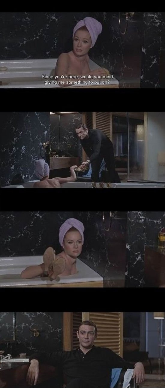 James Bond doing James Bond things.