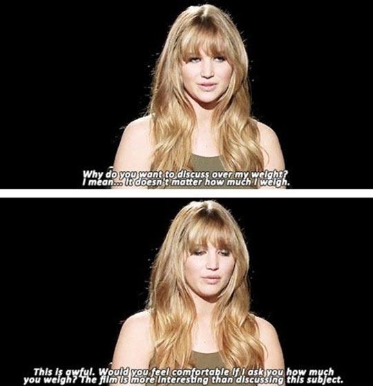 Jennifer Lawrence on point.