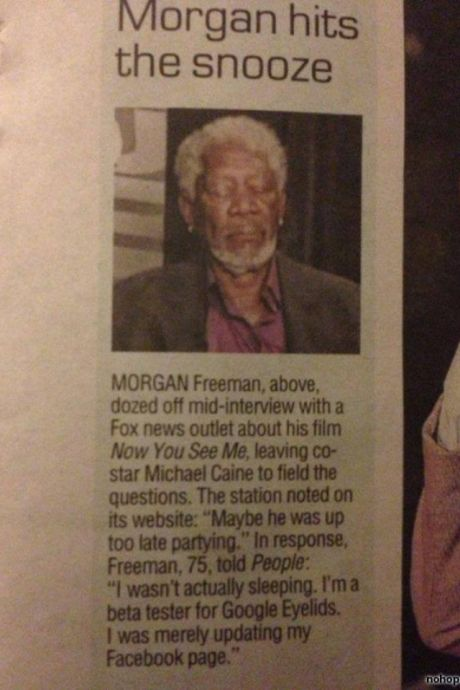 Morgan Freeman tests the new 'Google Eyelids'