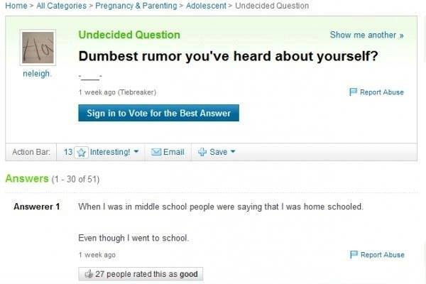 Probably the dumbest Yahoo answer ever!