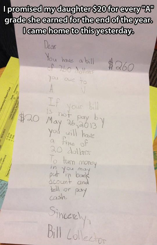 Promising your kids money...
