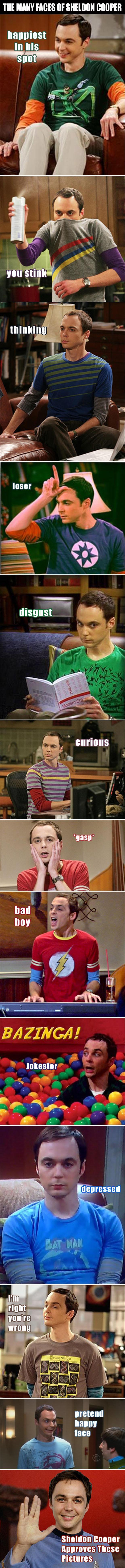 Sheldon Cooper funny faces