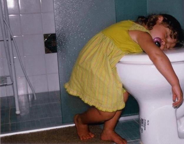 They often fall asleep on or near toilets.