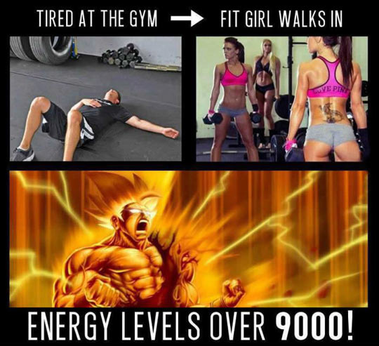 Tired at the gym when a fit girl walks in...