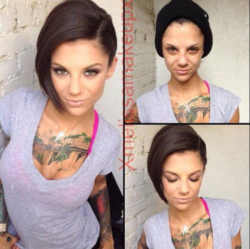 Adult entertainment stars before & after their makeup — Bonnie Rotten