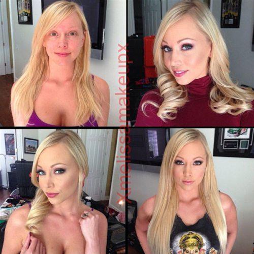 Adult entertainment stars before & after their makeup — Brea Bennett