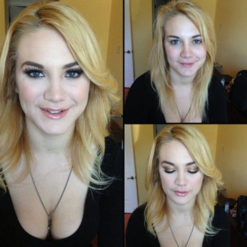 Adult entertainment stars before & after their makeup — Courtney Shea