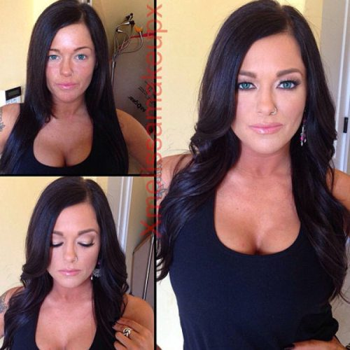 Adult entertainment stars before & after their makeup — Crista Moore