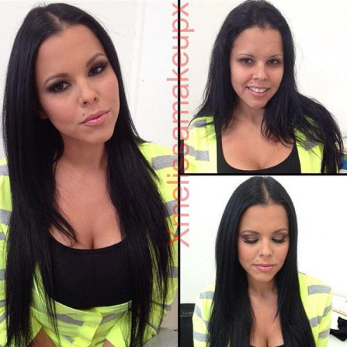 Adult entertainment stars before & after their makeup — Diamond Kitty