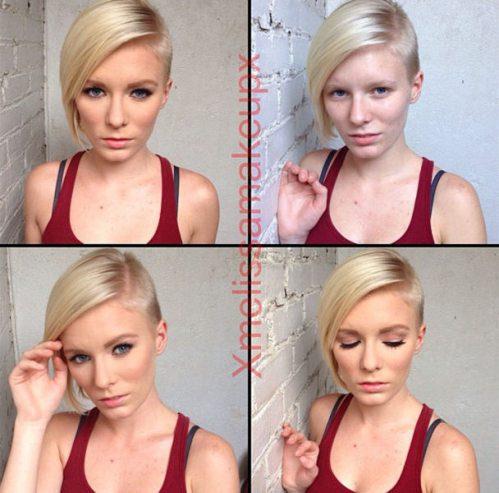 Adult entertainment stars before & after their makeup — Elaina Raye