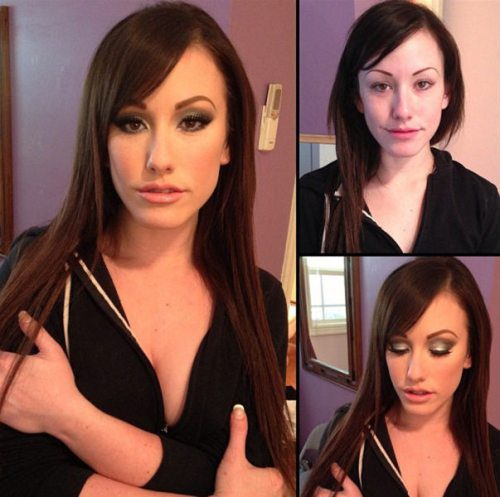 Adult entertainment stars before & after their makeup — Jennifer White