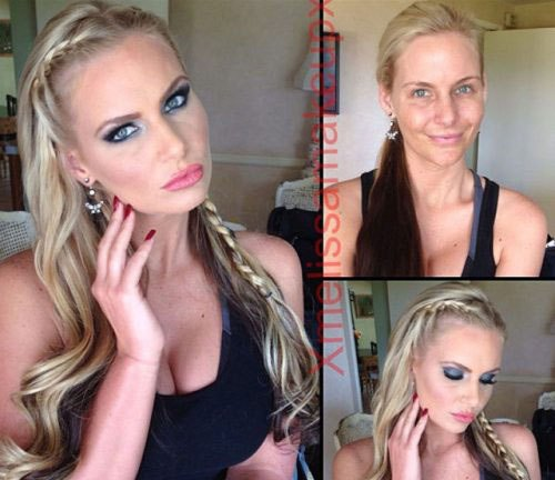 Adult entertainment stars before & after their makeup — Pheonix Marie