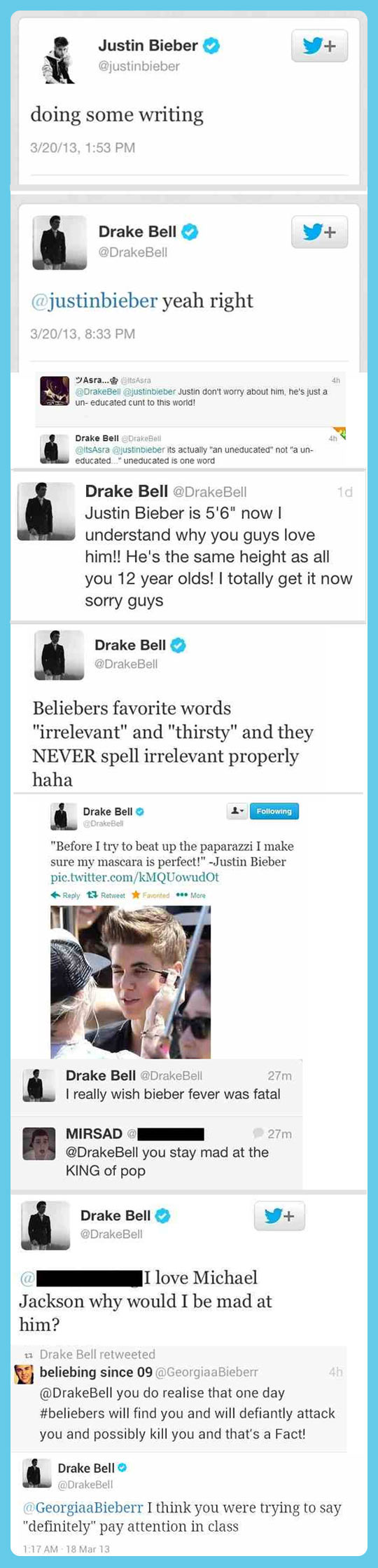 Drakek Bell just don't like Justin Bieber…