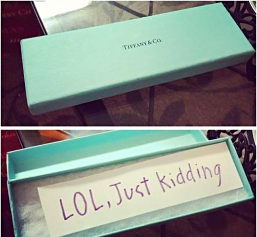 Got my wife something from Tiffany's. She was not impressed.