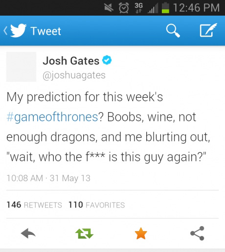 Josh Gates prediction for this week's Game of Thrones...