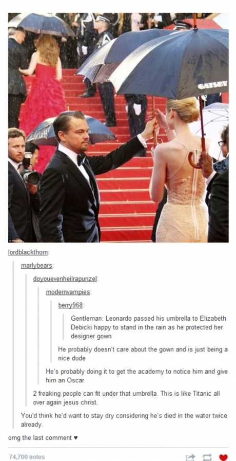 Leonardo Dicaprio is a real gentleman.
