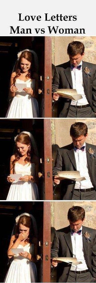 Love letters — Men vs. Women.