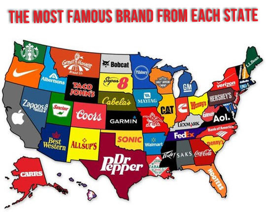 The most famous brand each state has created…