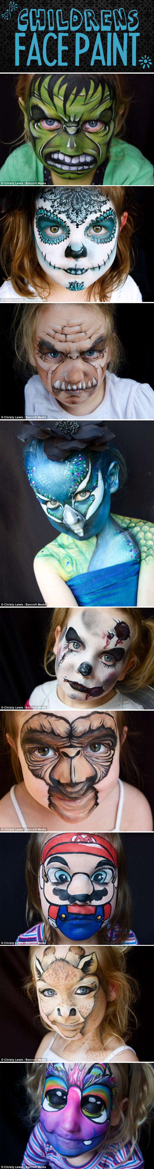 Elaborate children's face make-up…