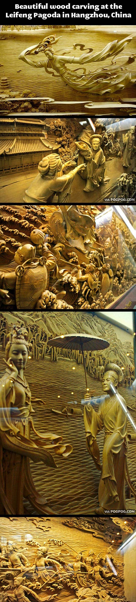 Beautiful wood carving in China…